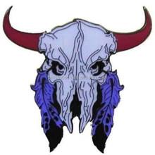 custom COW SKULL FEATHER HAT PIN 600 jacket lapel badge biker novelty metal hatpin new
