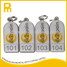 Metal qr code key fobs Numbering key chains with 15mm key ring
