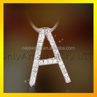 925 sterling silver charm cz inlaid cute alphabet pendant