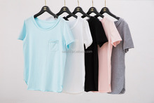 Ladies Cheap Branded Bulk Plain Pink Short Sleeve Round Loose Neck Brushed Cotton T Shirts