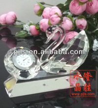waterford crystal clock with swan, crystal swan with clock