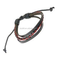Mens Black Multi Leather Strap With Coloured Plaited Centre Strap Surf Wristband Bracelet