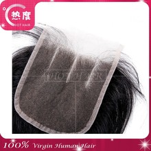 6A Free Shipping Brazilian Virgin 100% Human Hair Closures Straight Lace Closure Top 4*4 Middle 3 Way Free Part Bleached Knots