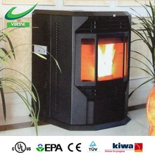 Wood pellets burnning cast iron fireplace