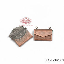 22x17mm Original Brass Color Copper Filled 3D Little Flower Pattern Opened Bag Purse Wallet with Two Loops Charms Pendants