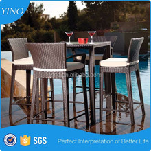 Plastic Rattan Home Kitchen High Coffee Bar Table and Chair Used Table for Bar Design supplier BR024