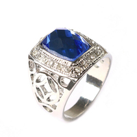 Trendy silver plated blue sapphire mens ring