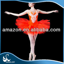 Dance costumes supplier Stretch Beautiful famous red Ballerina Dancer costume