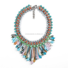 New arrival colorful Hawaii necklace fashion handcraft crystal bib necklace wholesale