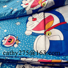 polyester microfiber Doraemon design print bed sheet/mattress/bedding set fabric for baby bedding set