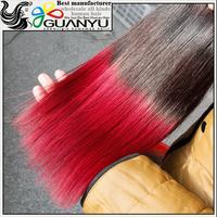 Wholesale virgin Human hair,100% natural virgin Human hair low price,two tone 1b/red Human hair extensions for black women