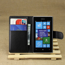 PU Leather flip wallet case cover for Nokia Lumia 520