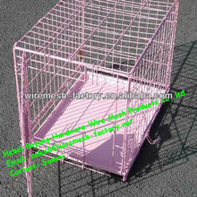 Folding Dog Cage with pink color