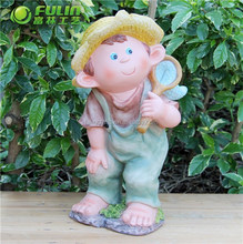 OEM Little Boy Polyresin Cartoon Figure 14.3""