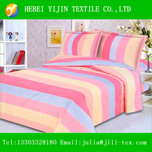 2015 new product beautiful bright color stripe yarn dyed cotton fabric twin bed sheets