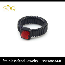 SSR700034-B Wholesale Fashion Stainless Steel Unique Engagement Rings for Women & Men Jewelry