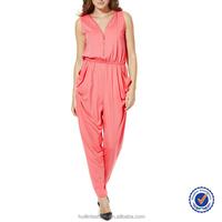korean fashion pink loose comfortable zip detail jumpsuit