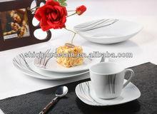 32pcs porcelain lightweight gold&silver plated white jade dinnerware
