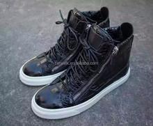 Unisex smart lace up men women sneaker autumn winter flat fashion black snake skin platform casual shoes