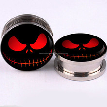 FlyFire Nightmare Logo Inner Screw Fit Stainless Steel Ear Gauges Ear Tunnels Plugs Body Piercing Jewelry