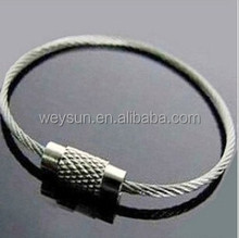 High quality Strong Stainless Steel Wire Keychain cable ring for Outdoor Hiking