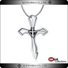 Unique Christian 925 Sterling Silver Double Cross Pendant