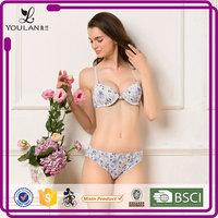 Custom Fashionable Hot Girl Printing Front Closure Beauty Back Stylish Panty and Bra Set