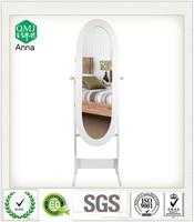 standing alibaba wood furniture manufacturer oval jewelry mirror cabinet with door hinge