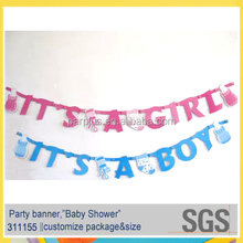 Professional Party Supplier ITS A GIRL/BOY Jointed Letter Banner