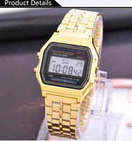 vogue stainless steel alloy digital LCD watch fashion gold and silver