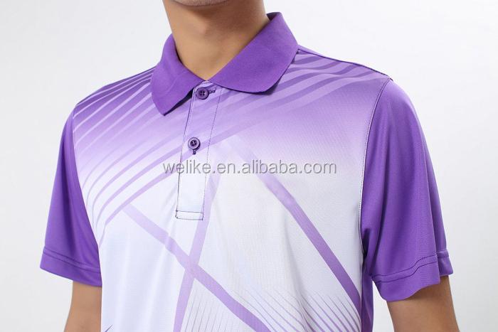 Latest design polo shirts men purple volleyball uniforms for Purple polo uniform shirts