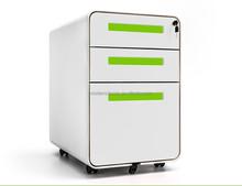 Steel super thin edge rounded bending 3-drawer office file cabinet/mobile drawer office cabinet/mobile pedestal
