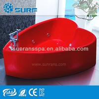 2015 New Design Heart Shape Acrylic Red Massage Jets Chinese Sex Bathtub