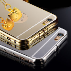 Simple design mobile phone cover with mirror pc aluminum phone case for iphone 6,for galaxy s4 mini