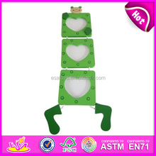 Beautiful wooden frame photo for kids,wooden toy frame photo for children,Hot sale new design green color photo frame WJ278291