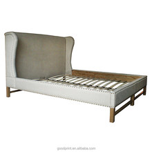 Hot sell French design bedroom hotel furniture queen size antique wooden bed