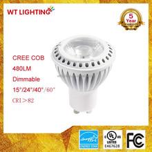 CE RoHs UL High Power 500Lm Narrow Beam Angle Cob Led Spot Light Gu10
