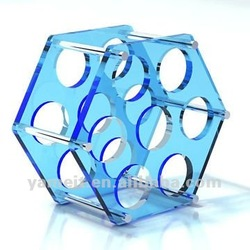Blue acrylic wine bottle display rack