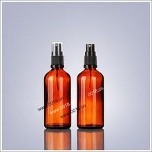 100 ml ambre bouteille en verre avec pompe de pulvérisation et cap