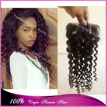 "Stock! cheap price best 6A quality 10-24inch 3.5*4"" #1b deep curly vigin brazilian lace closure with baby hair"