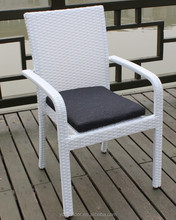 Stackable White Flat Rattan Wicker Single Garden Dining Chair with cushion