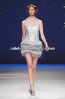 2014 Grey Scoop Neckline A Line Lace Wedding Dresses Short Layers Sheer Shoulder Feather Bridal Gowns