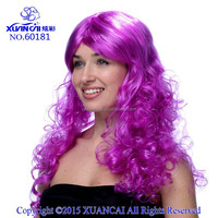 2015 Hot sale cheap synthetic hair Purple Curly Long Hair Costume Wig