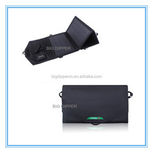 Outdoor 14W dual USB folding solar panel charger for mobile phone,tablet pc,min fan,power bank