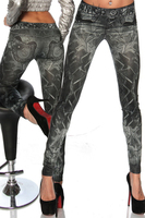 Wholesale Seamless Denim Tattoo Painted Messy Printing Nine Points Stretch Sexy Tight Leggings For Women 9581