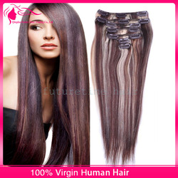 Double weft two tone 100% brazilian hair clip-on hair extension