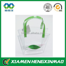 2015 Hot sale clear plastic bags with handles;pvc clear plastic handle bags