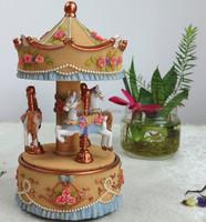 Musical christmas bell carousel horse music box