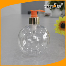 500ml ball shape plastic bottles container with lotion pump for shampoo