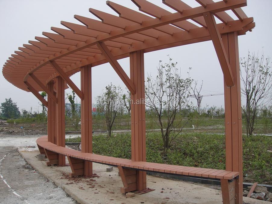 Goedkope wpc pergola anti uv waterdicht hout kunststof composiet pergola 39 s voor buiten in de - Bedekt hout pergola ...